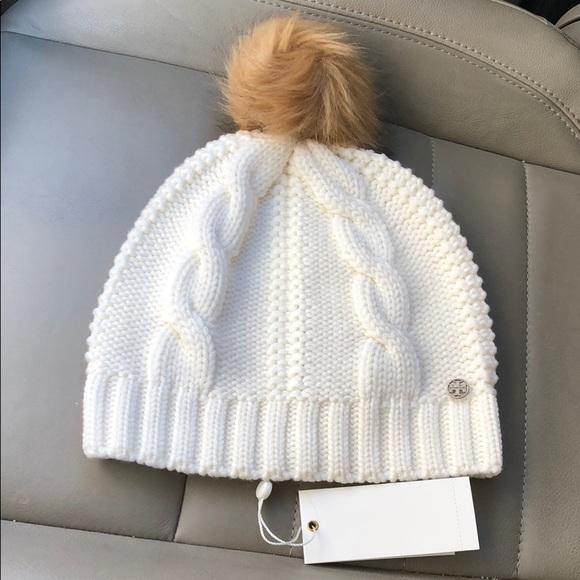 ce352a054d4 Tory Burch White Beanie Hat